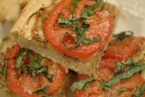Tomato and Parmesan Focaccia with Caramelized Onions