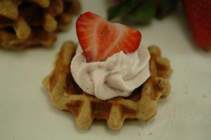 15 Minutes Waffle Cookies with Strawberry Raspberry Whipped Cream