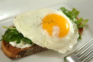 Arugula, Ricotta, and Fried Egg Toasts