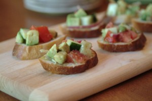Tomato, Avocado, and Cucumber Crostini with Creamy Sherry Vinaigrette