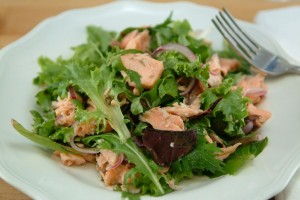 Roasted Salmon Summer Salad with Capers and Sweet Red Onion