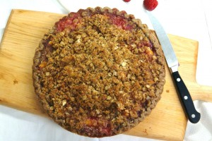 Peach, Plum, and Raspberry Crumble Pie