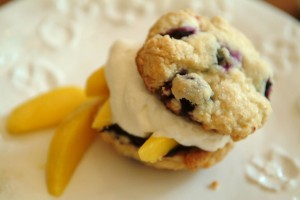 Blueberry Sugar Shortcakes with Mango Compote