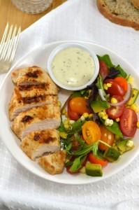 Spicy Chicken with Summer Vegetable Salad