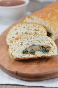 Super Bowl Stuffed Spinach Sausage Bread